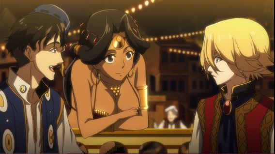 A blonde boy sits next to a dark-haired man with a moustache while a busty dark-haired woman leans over a railing just behind them