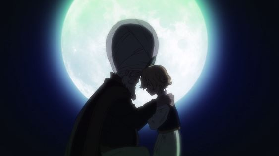 Two silhouetted figures, a boy and an older man in a turban, touch foreheads with the full moon in the background