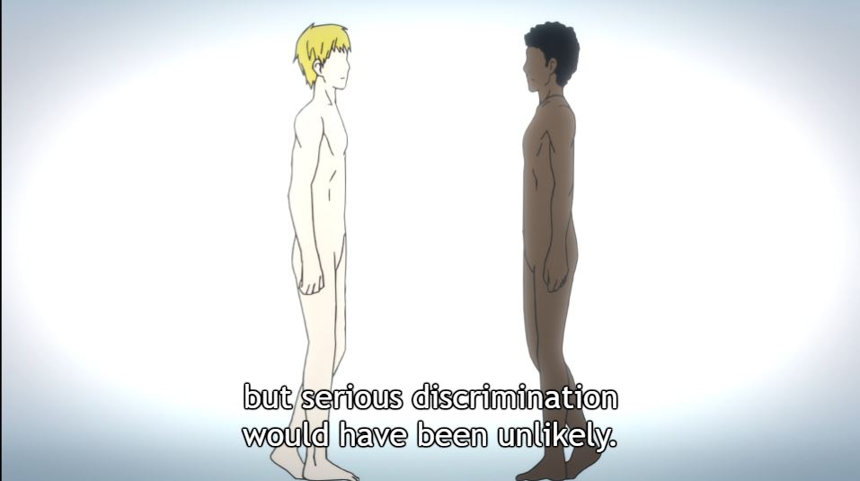Picture of a white blond person facing a dark-skinned, dark-haired person. Narration: but serious discrimination would have been unlikely