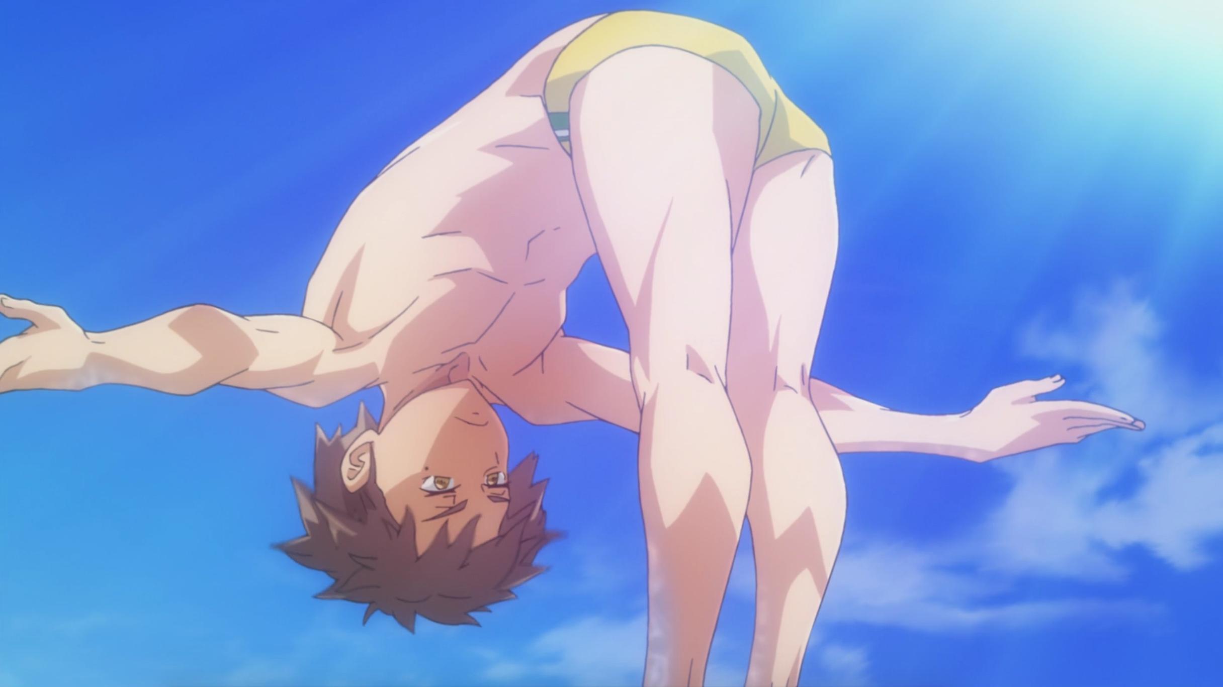 Yoichi flips off the diving board