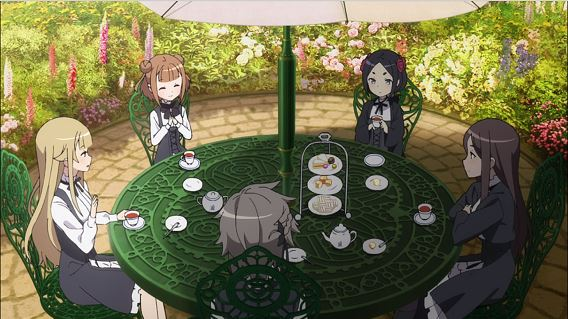 Five girls in gray school uniforms set at a table in a garden, having tea