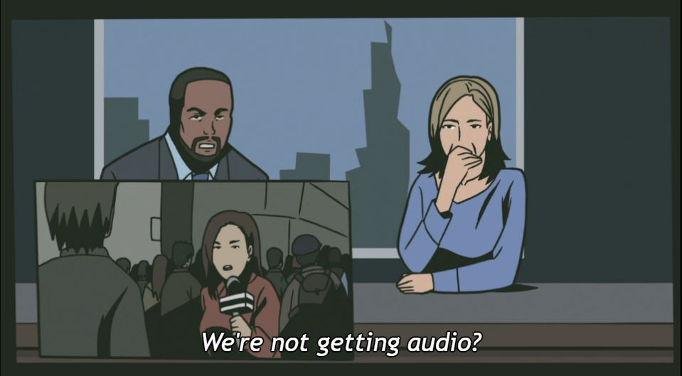 "A black man and a white woman at a news desk; in the bottom corner is another frame with a woman reporter holding a microphone. Text: ""We're not getting audio?"""