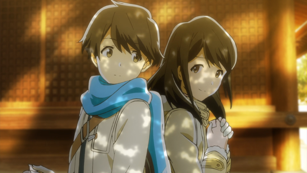 A girl and a boy in winter clothes stand back to back, glancing at each other, the girl with her hands clasped to her chest