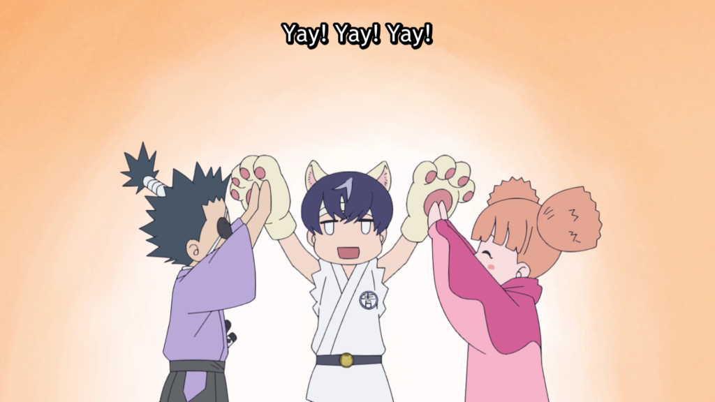 """A boy wearing a gi and cat ears and paws high-fives a girl in pigtails and a boy with a topknot. Text: """"Yay! Yay! Yay!"""""""