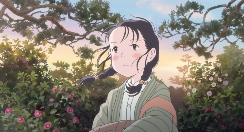 A girl in period clothes with her hair in two braids stands before a sunset-tinted field of flowers, looking off into the distance