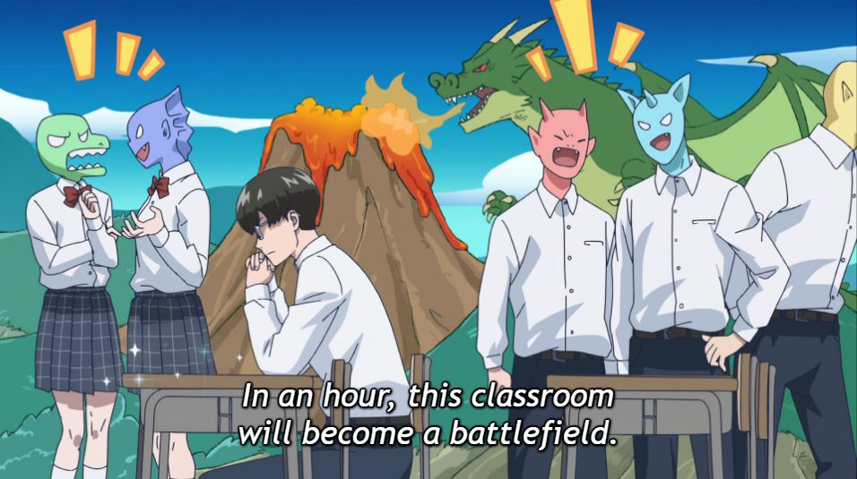 Narita sits at his desk, hands folded, imagining his classroom as a forest with a volcano. The other chattering students have monster heads. Subtitle: In an hour, this classroom will become a battlefield.