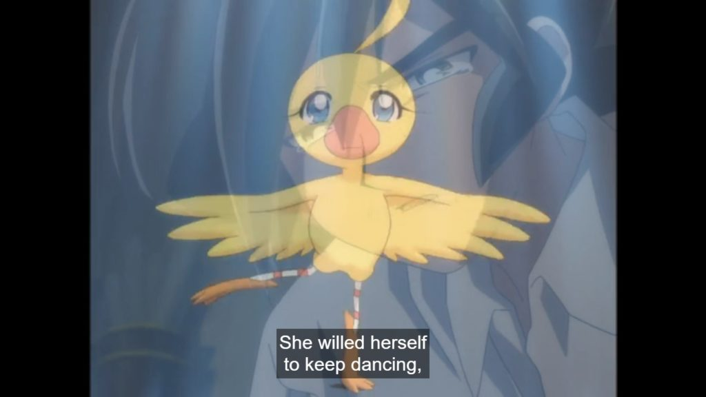Duckling Ahiru dances a pirouette, a teary-eyed Fakir superimposed in the background. Subtitle: She willed herself to keep dancing.