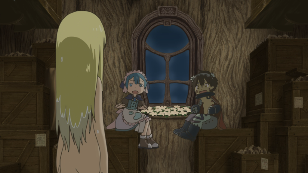 A naked blonde girl stands in the foreground with her back to the camera. In the background two kids - a blue-haired child in a dress & a shirtless boy with mechanical arms - sit at a table and look at her, shocked.