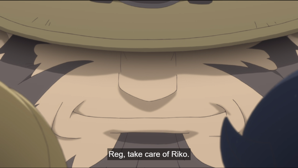 A close up of a bearded, smiling face. subtitle: Reg, take care of Riko.