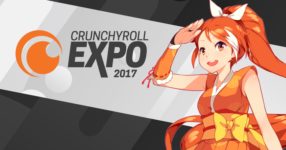 """Atop a gray background with a light-gray stripe going sideways down the middle, to the left there is the Crunchyroll logo (two orange half-circles simulating a sushi roll as seen from the top) and the words """"Crunchyroll Expore 2017."""" To the right is a a mid-shot of a smiling orange-haired girl in orange-and-yellow ninja garb who shades her eyes with one hand and looks"""