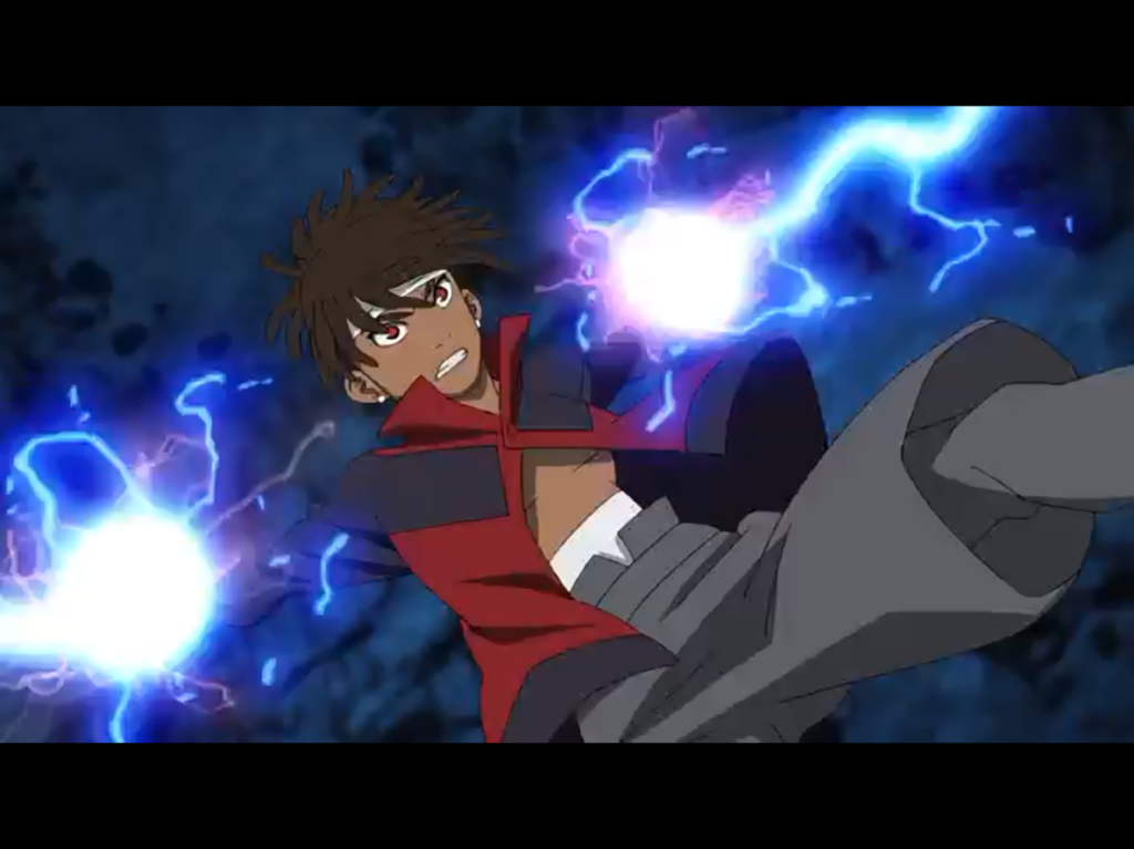 A black boy in a red jacket shoots lighting from his hands while falling backwards