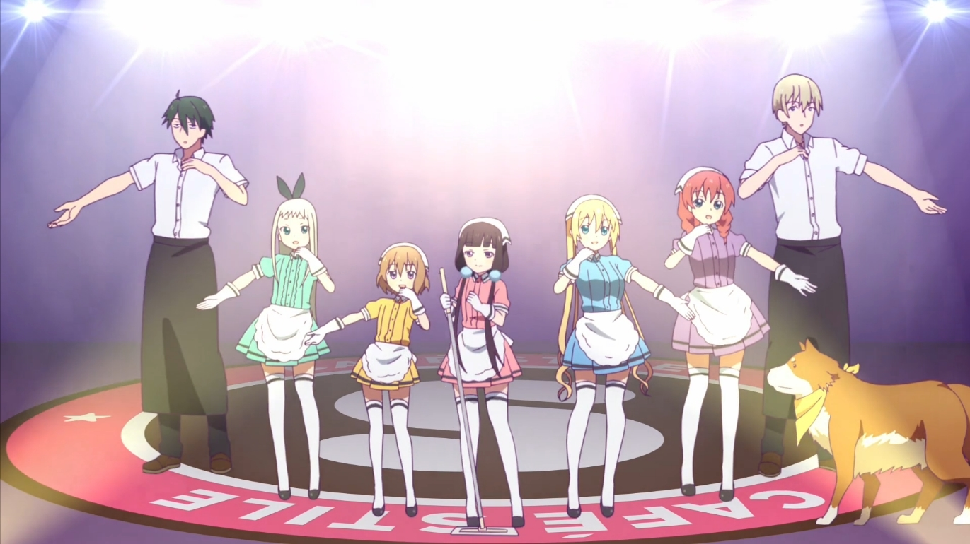 Five girls in multicolored maid uniforms are flanked by two significantly taller young men in waiter uniforms. They all stand with one arm outstretched, as if posing in a dance. To the right stands a fluffy golden dog wearing a neckerchief.
