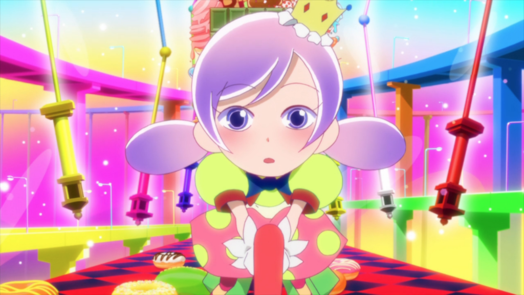 a girl wearing a crown, surrounded by brightly colored architecture