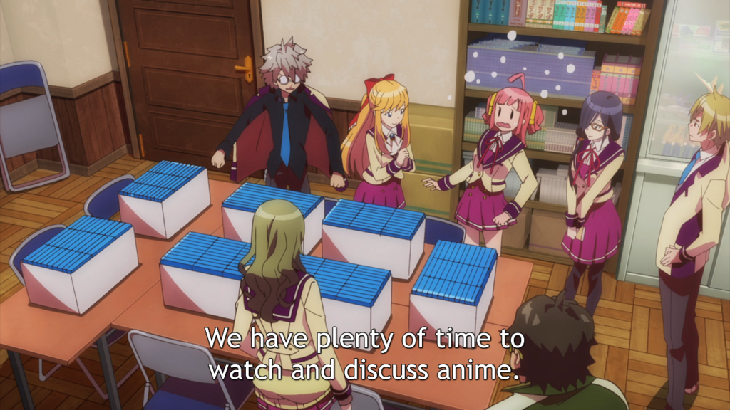 """Four girls and two boys in school uniforms stand around a table covered in boxes filled with what look like blu-ray cases. A pink-haired girl looks startled, while the other seem happy. Subtitle: """"We have plenty of time to watch and discuss anime."""""""