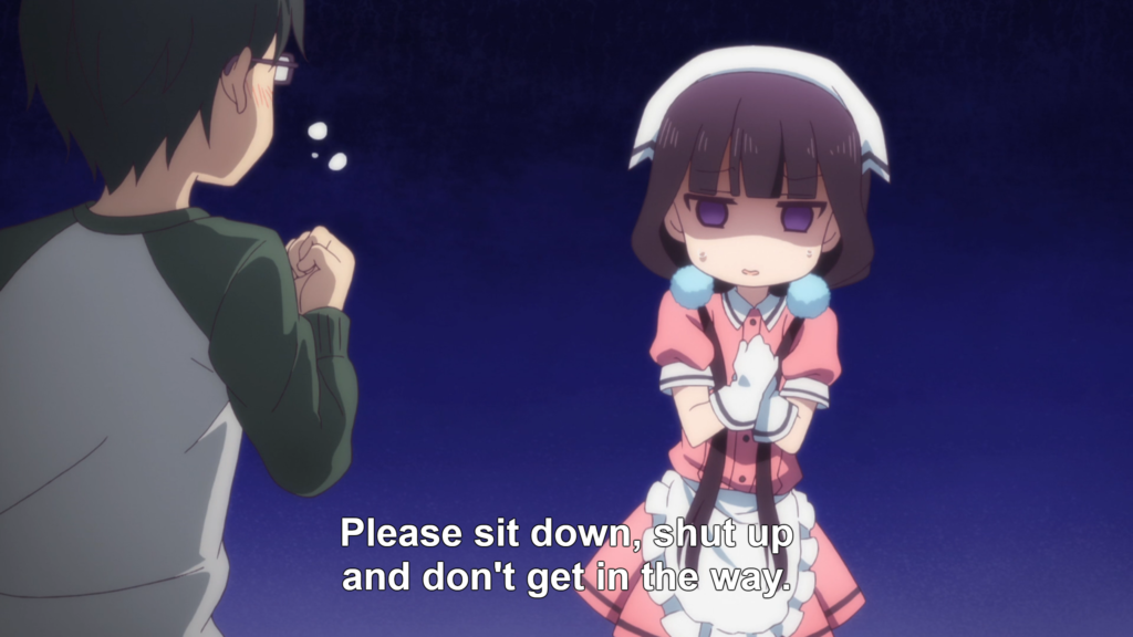 "In the foreground, the back of a young man wearing glasses as he clenches a fist. In the bakground, a girl in a maid outfit looking uncertain, hands clasped in front of her chest. Subtitle: ""Please sit down, shut up,and don't get in the way."""