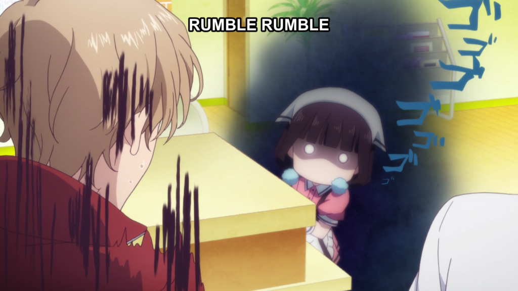 """A girl in a maid outfit peeks out from behind a counter, glaring at a frightened man facing away from the camera. The girl has a black """"doom"""" cloud behind her and sound effects emanating from her form. Subtitles: """"Rumble rumble"""""""