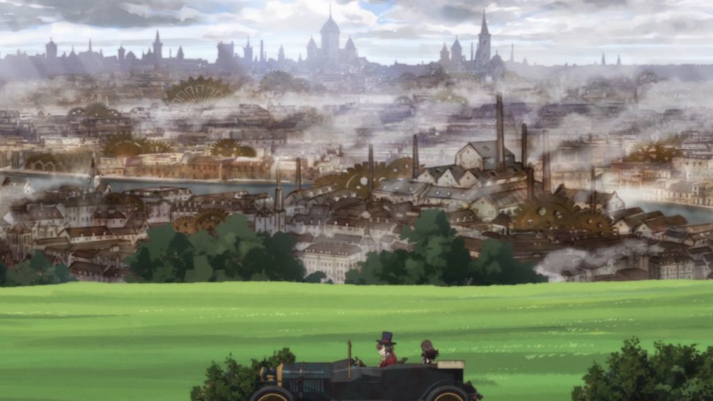 A long shot of a smog-covered, rusted-looking city highlighted by tall smokestacks and large gears. In the foreground is a splash of green field and a motorcar with a few distant figures seated inside of it.