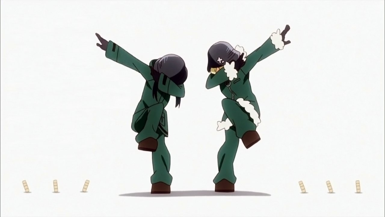 Two girls wearing military helmets and coats dab.