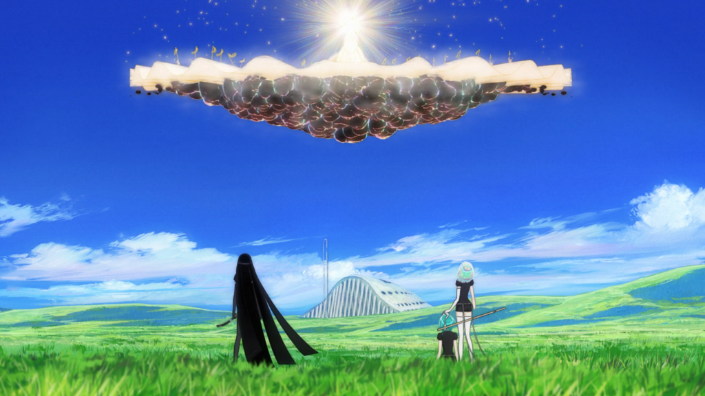 A long shot of a grassy plain. There are three figures standing with their backs to the camera: A long black-haired person, a person with iridescent hair, and a green-haired person seated on the ground. Above them is something that looks like a cross between a cloud and a fortress, with a bright ball of light at its top center. In the distance is a tall building.