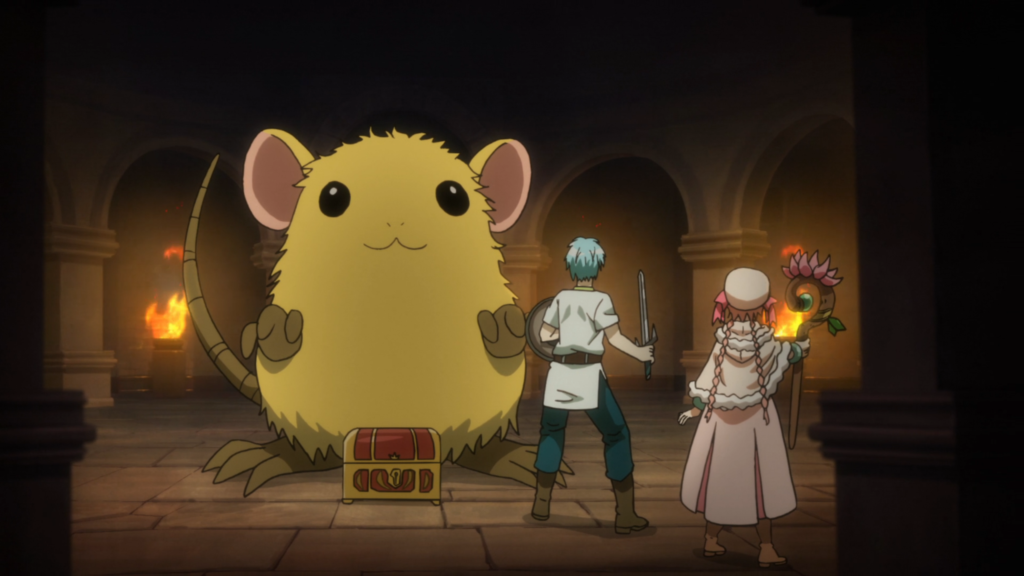 A young man and woman dressed in fantasy garb face away from the camera; across from them is a small treasure chest and a giant, fluffy gold mouse. They appear to be standing in a dungeon.