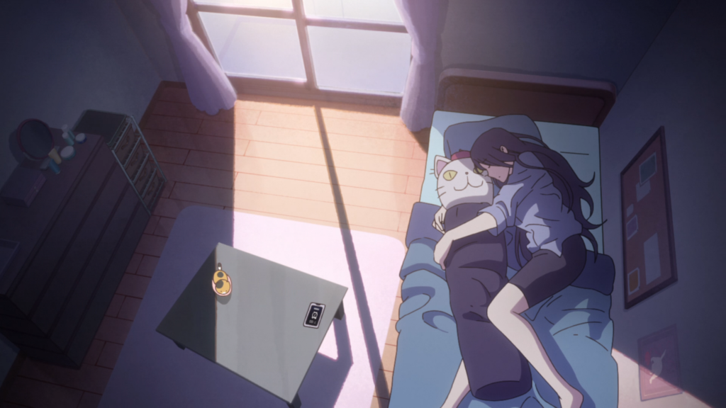 A young woman lays on a bed, curled up, her arms wrapped around a body pillow with a cat face. Sunlight streams through the open window, casting her partly in light, partly in shadow.