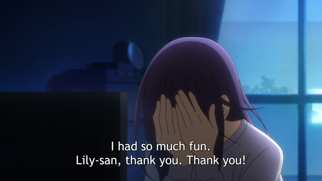 "A long-haired woman sits in a dark room, her hands covering her face. Subtitles: ""I had so much fun. Lily-san, thank you. Thank you!"""