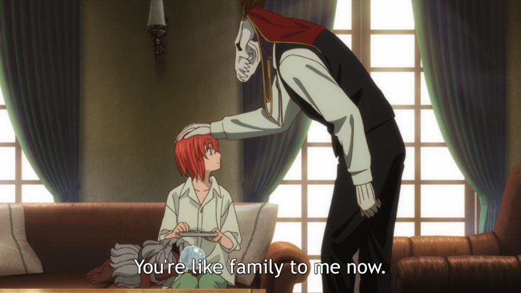 "A redheaded girl in a long white shirt sits on a couch while a masculine figure with an elongated skull for a head pats her on the head. Subtitle: ""You're like family to me now."""