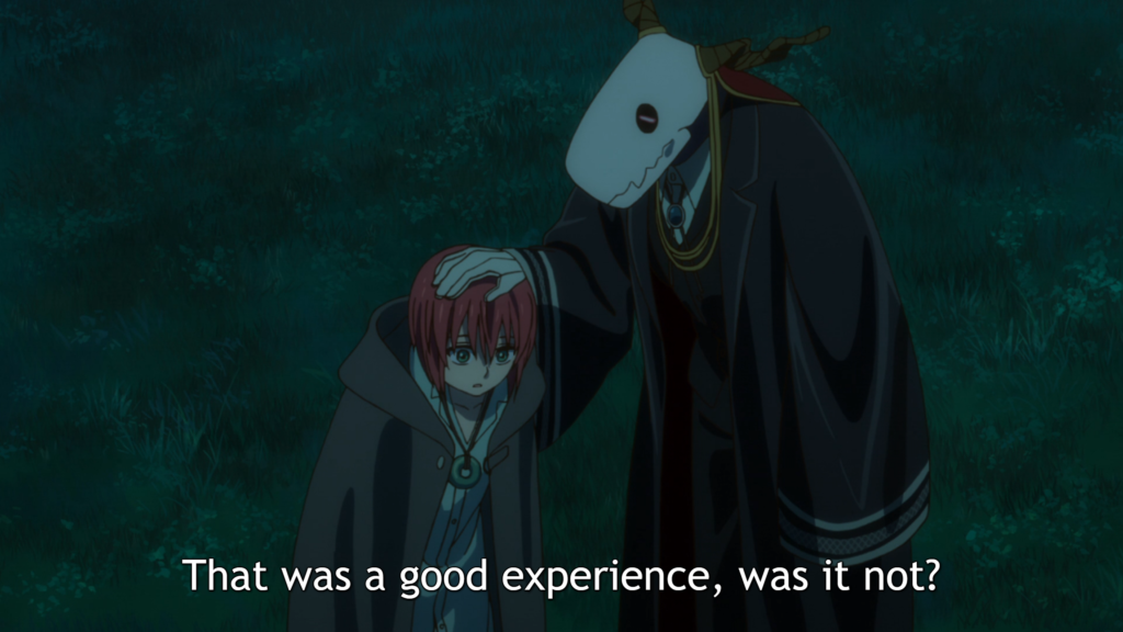 """A tall figure with a skull for a head wearing a black cloak pats a redheaded girl on the head. It is nighttime in the forest. Subtitles: """"That was a good experience, was it not?"""""""