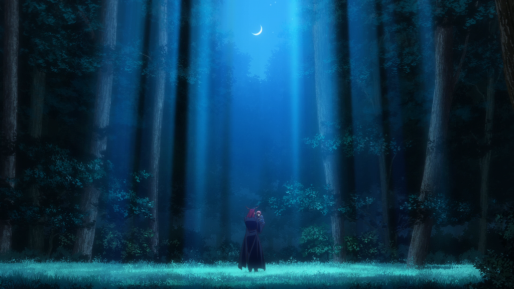 A moonlight forest with tall trees shooting towards the sky and a crescent moon shining down on them. In the center is a tall figure in a dark cloak, another redheaded figure in his arms.