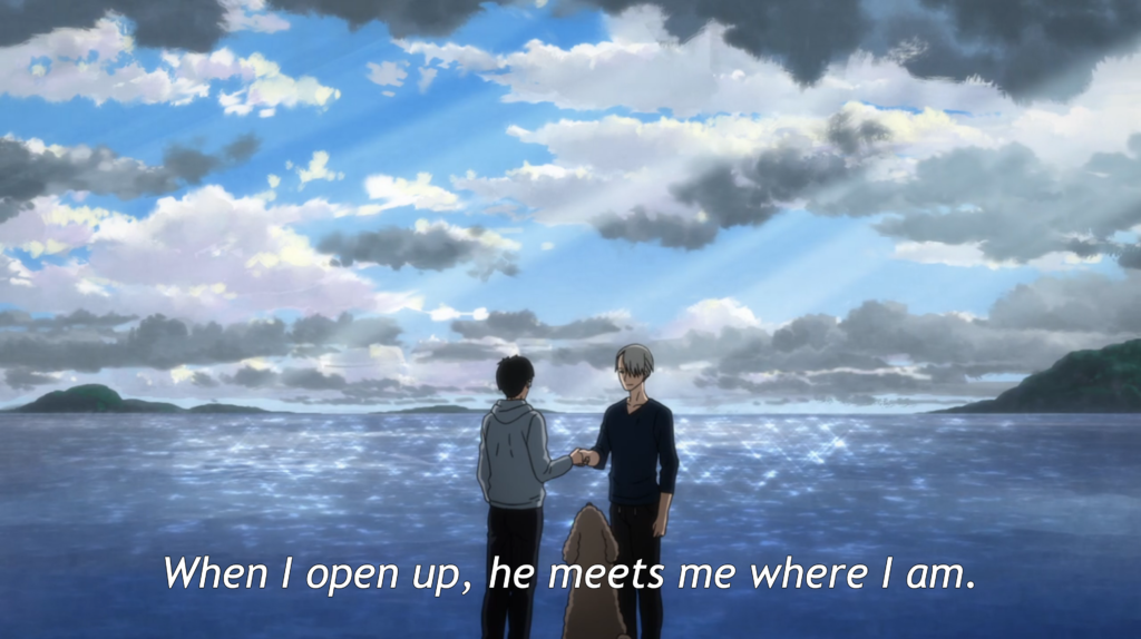 a distant shot of Yuri and Victor on the beach, shaking hands. caption: when I open up, he meets me where I am.