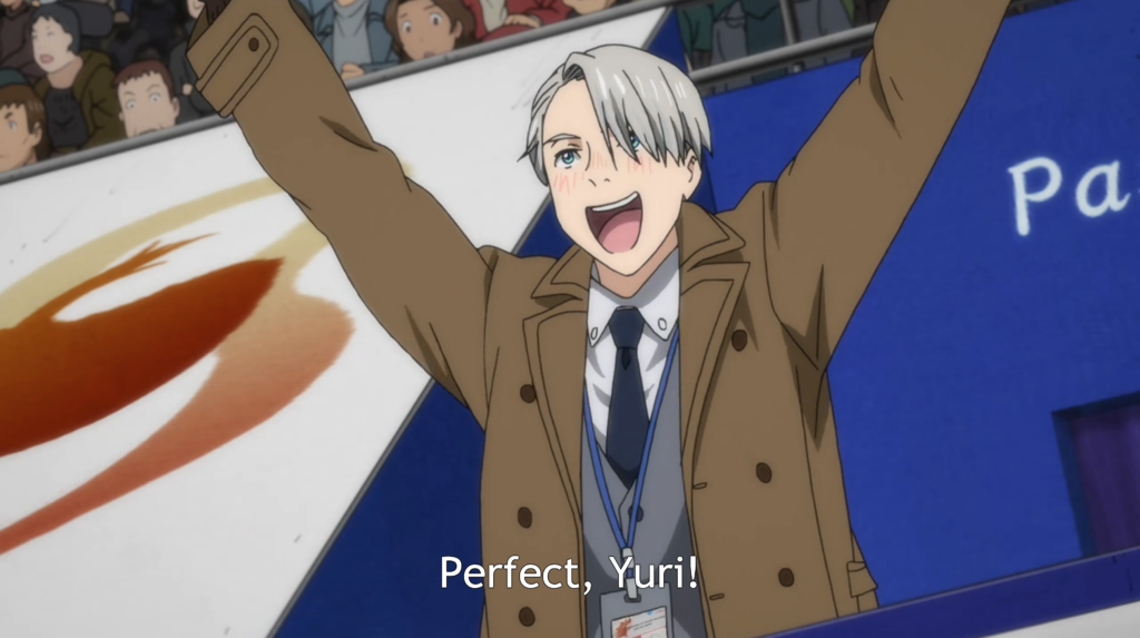 Victor cheering from the sidelines with both arms up. caption: Perfect, Yuri!