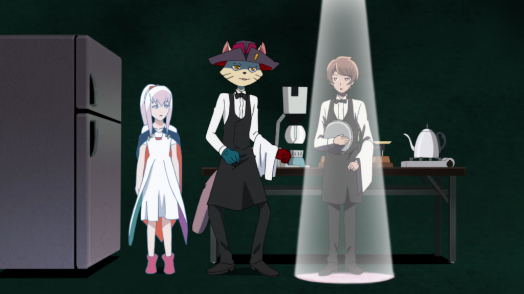 A young man in a waiter uniform holding a tray stands under a spotlight. Beside him in shadow stands a cat-person in the same waiter's uniform and a girl in a white dress.