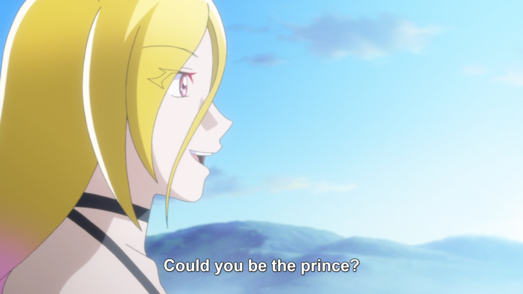 "A close up of a blonde woman seen in profile. Behind her are hills at dawn. Subtitle: ""Could you be the prince?"""