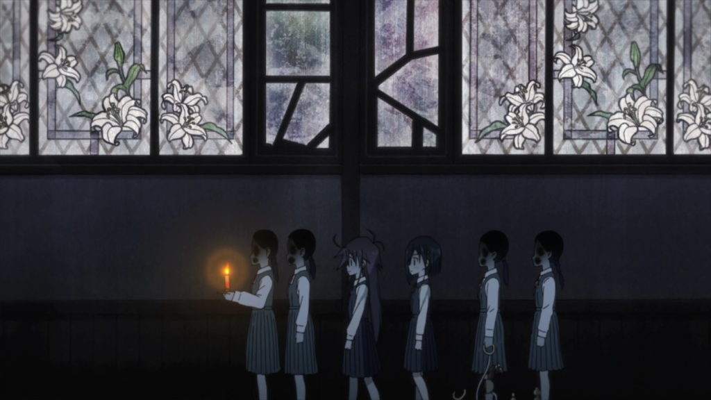 Cocona and Papika walking down a hallway with the faceless girls. Behind them is a wall of stained glass patterned with white lilies