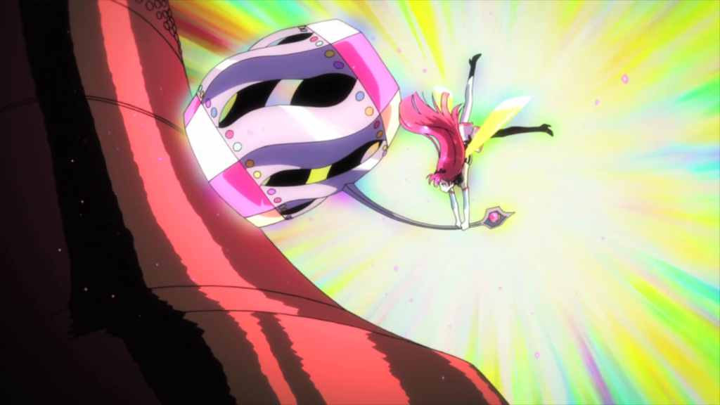 Cocona, in bright pink magical girl form, smashing the clock tower bell with a gigantic colourful hammer