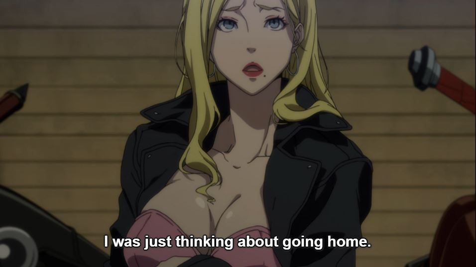 A blonde woman in a low cut top and large breasts. Subtitle: I was just thinking of going home