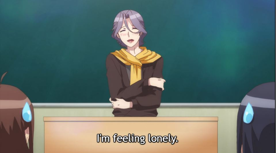 an effete man behind a desk, wearing a scarf and embracing himself. subtitle: I'm feeling lonely