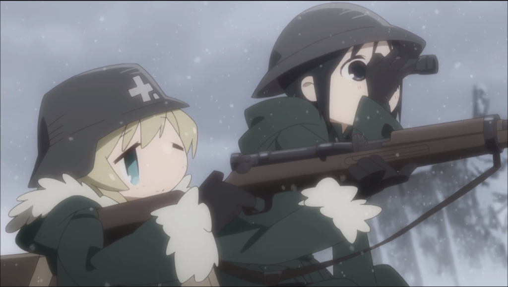 a young girl aims a WWI era rifle while the other girl looks through a small spyglass at the target