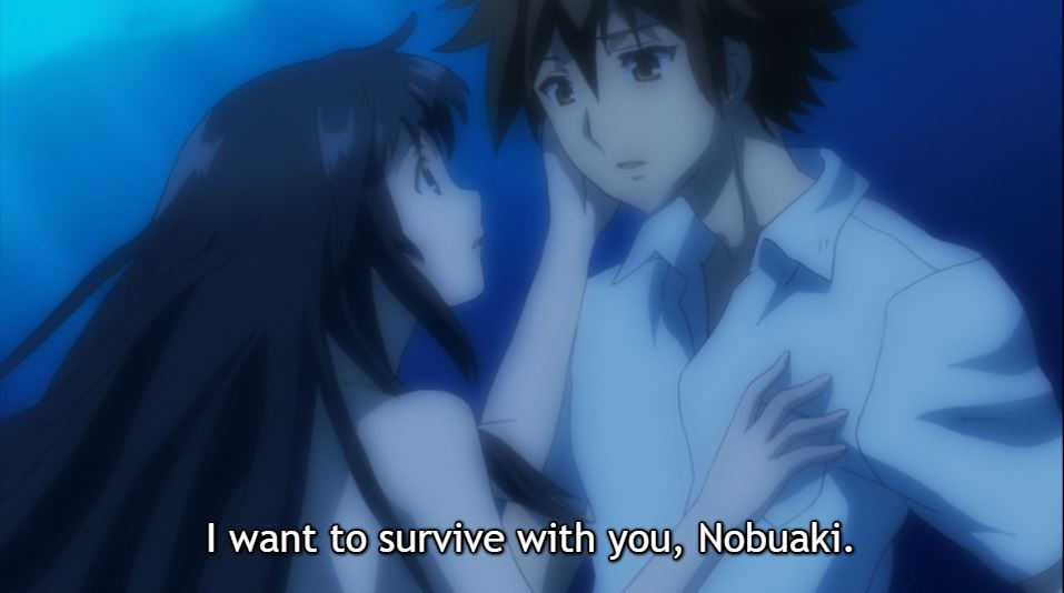a naked girl touches the clothed protagonist's face as they float underwater. subtitle: I want to survive with you, Nobuaki