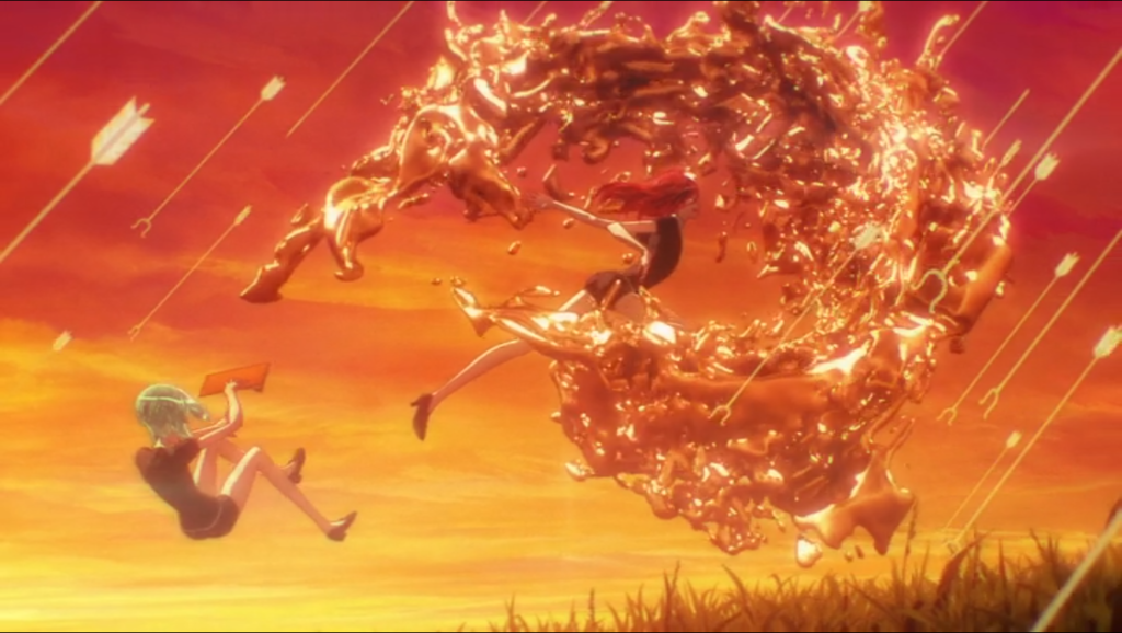 Phos flies backward as a redhead leaps forward, generating a massive coppercolored wave in front of them to defend the pair from falling arrows