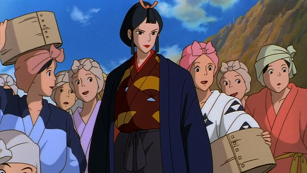 Eboshi, surrounded by a group of smiling and curious looking women