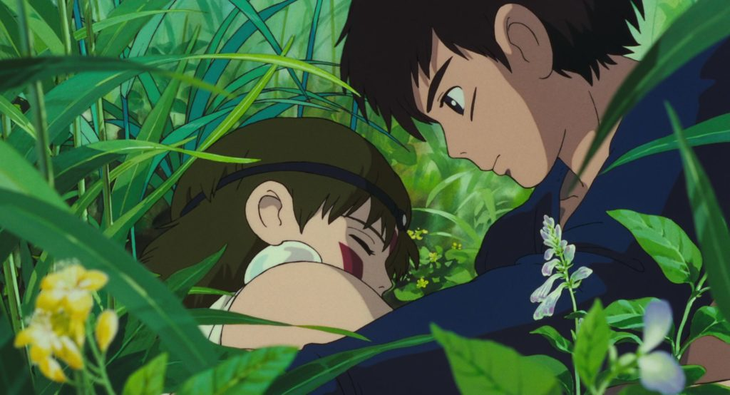 Ashitaka stares at the sleeping San. They are both surrounded by tall grass