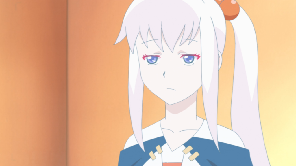 an unimpressed looking white-haired girl