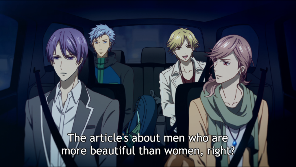 four bandmates sit in a car. subtitle: the article's about men who are even more beautiful than women, right?