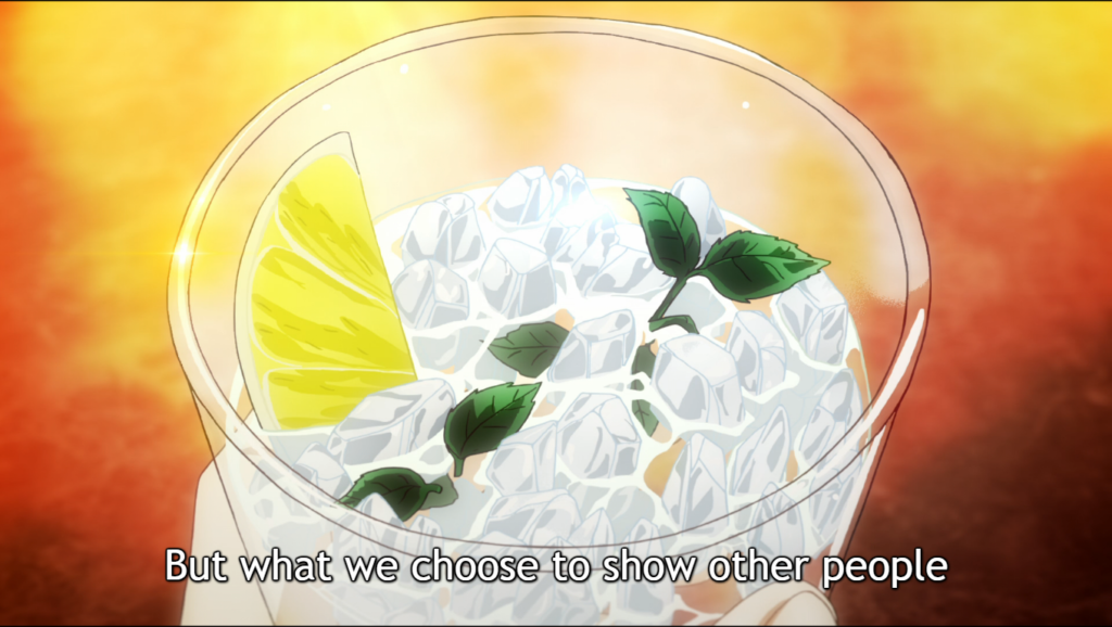 an alcoholic drink with lemon and mint on a table. Subtitle: but what we choose to show other people