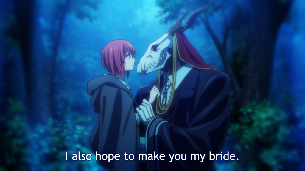 """A girl in a cloak looks at a masculine figure with a horned skull for a head. He his lightly holding her wrist and appears to be carrying her. Subtitle: """"But I also hope to make you my bride."""""""