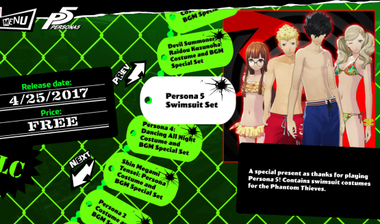 "A game menu with multiple options. The highlighted open is ""Persona 5 Swimsuit Set."" There is a small image of four young people - two boys and two girls - wearing swimsuits."