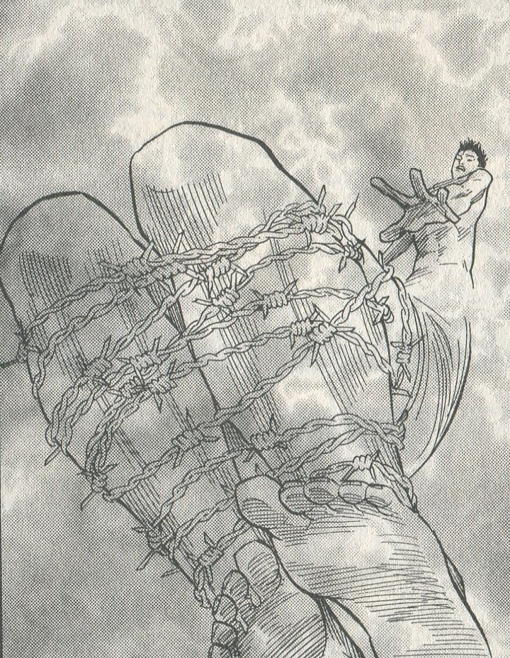Image of naked Takahashi reaching down toward his legs, which are in the foreground, bound together by barbed wire