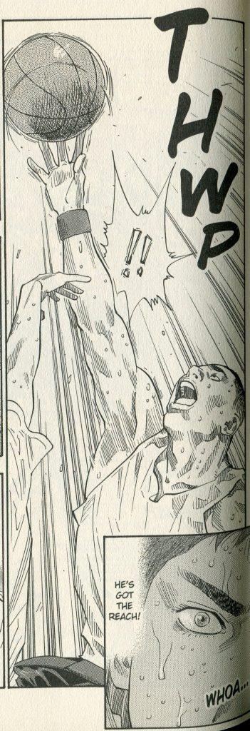 a muscular young man reaching up toward a basketball in play. Close up panel of an eye. dialogue: he's got the reach!
