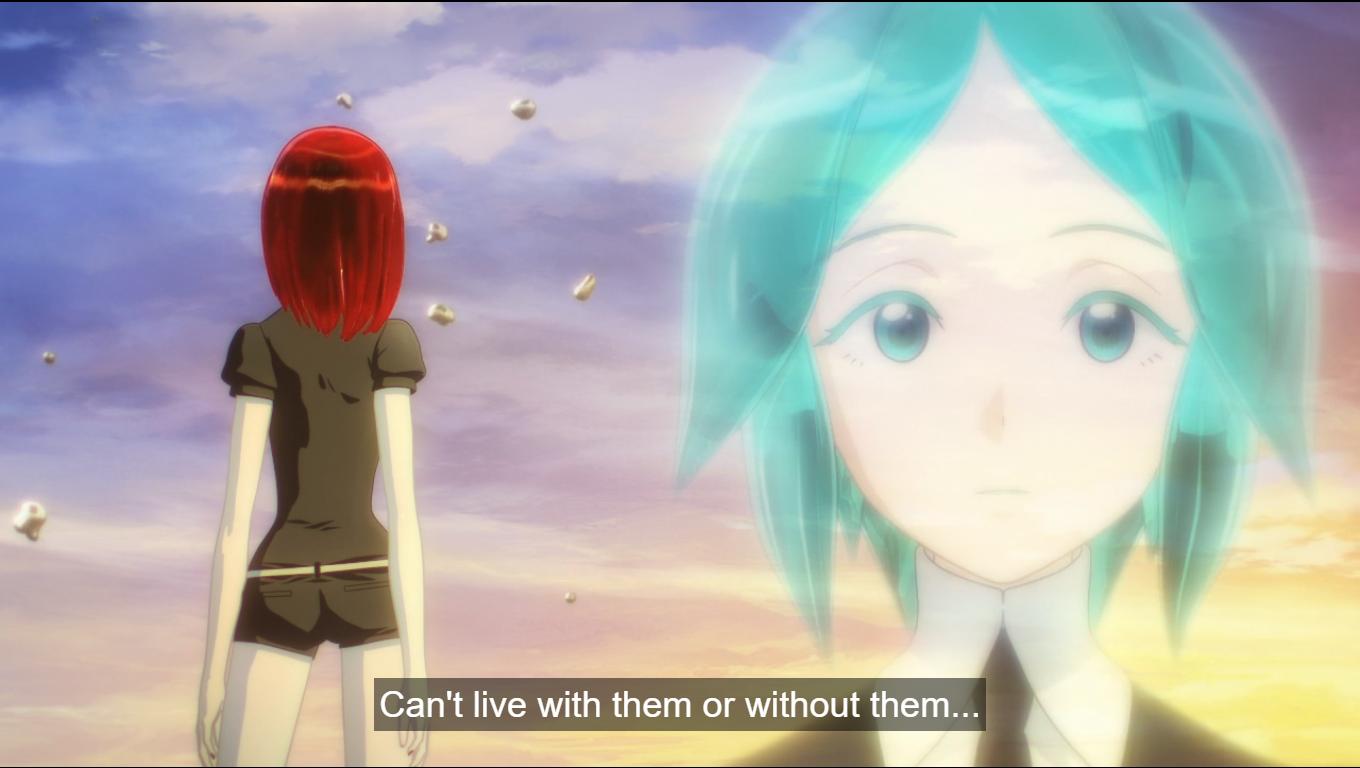 a superimposed image of Phos' face, looking thoughtful, and Cinnabar facing away from the camera. caption: can't live with them or without them